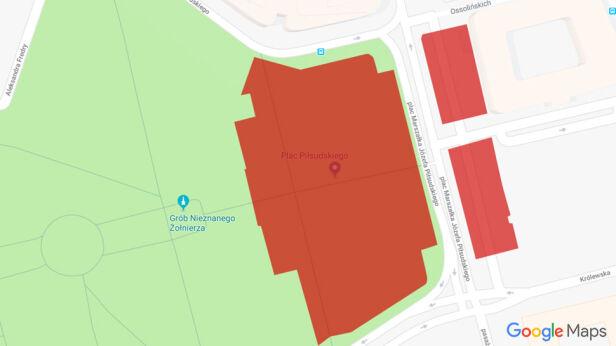 Nowy podział działek na placu Piłsudskiego Mapy Google