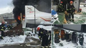 Rozbierali samolot, spłonął kebab. Policja: zatrzymaliśmy właściciela
