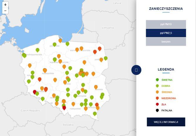 Stężenie pyłu PM2,5 o godz.10.30 (tvnmeteo.pl za GIOŚ)