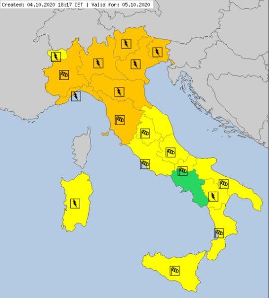Aktualne ostrzeżenia meteorologiczne we Włoszech (meteoalarm.eu)