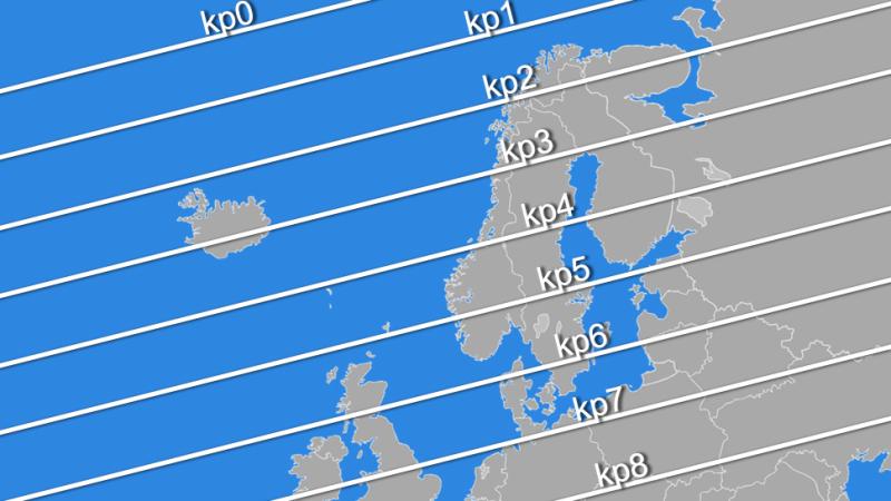 Zasięg występowania zorzy polarnej w skali KP