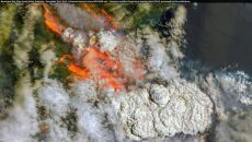 Pożary widoczne na zdjęciu satelitarnym (Copernicus EMS)