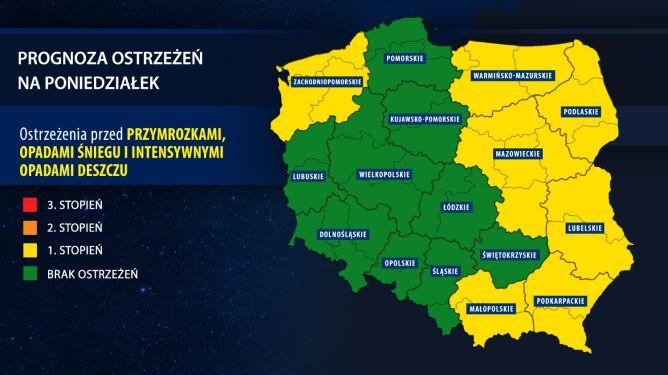 Prognoza zagrożeń na poniedziałek (tvnmeteo.pl za IMGW)