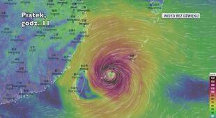 Prognozowana trasa tajfunu In-fa (Ventusky)